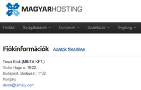Nézze meg az MHosting ügyfélkapu felhasználói fiókját.
